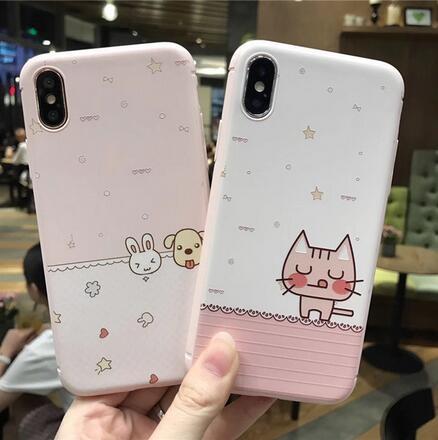 SZ35 iPhone X手機殼卡通貓咪小兔浮雕粉色系iPhone7 8 plus手機殼iPhone6s手機殼