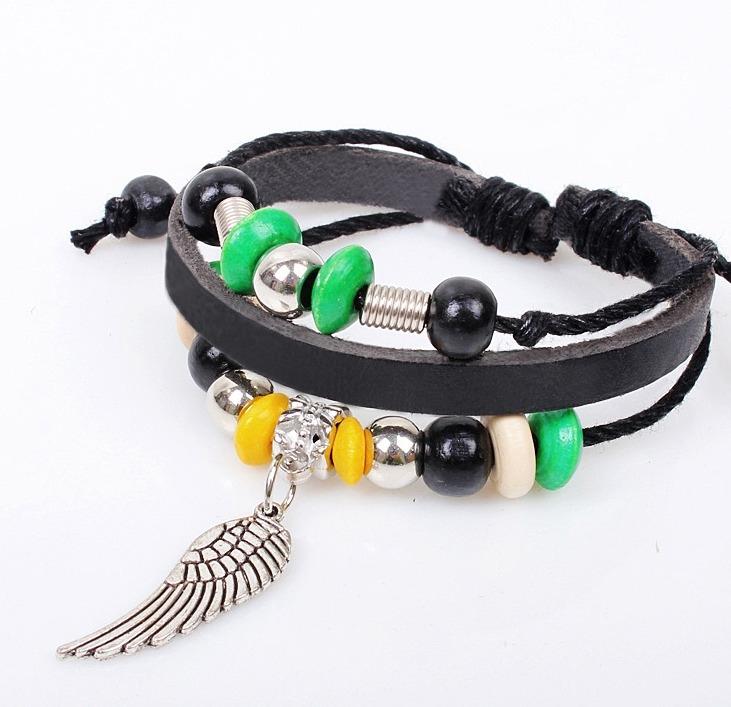 韓版牛皮飾品 天使翅膀 編織 手鍊 時尚 手飾 個性 串珠 手鍊