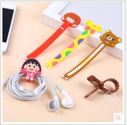 88柑仔店-- 韓版可愛卡通小鋸齒穿孔式繞線器耳機捆線器5g