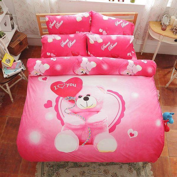 《DON 快樂小熊》 雙人四件式蜜絲絨兩用被床包組