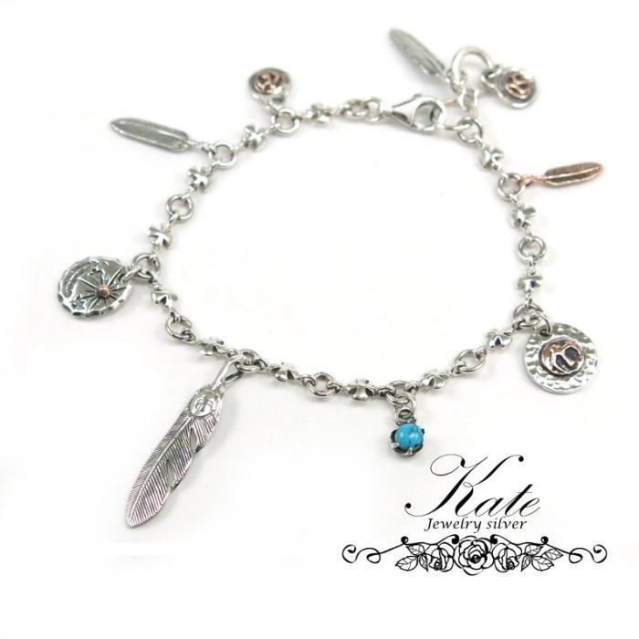 銀飾純銀手鍊印第安老鷹羽毛太陽土耳其石複刻925純銀寶石手鍊KATE銀飾