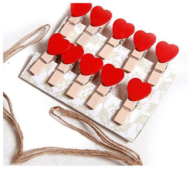 【韓風童品】(10入/組)愛心木夾  工藝小木夾  裝飾夾  拍攝背景裝飾夾   木質工藝品麻繩掛飾