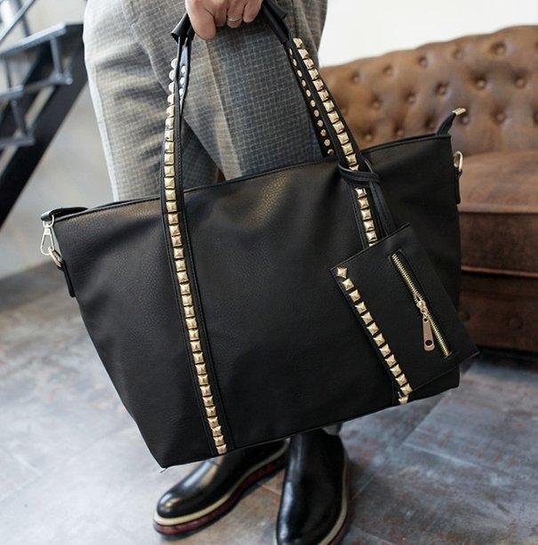 韓國鉚釘機車包暗黑潮流包款側背肩背手提包長夾買一送一
