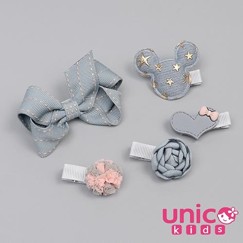 UNICO 兒童復古牛仔色系米奇蝴蝶結多樣全包布髮夾/髮飾-5入組