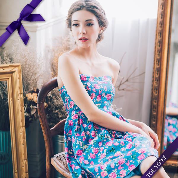 東京衣服許瑋甯普羅旺斯玫瑰心型領洋裝小禮服藍花