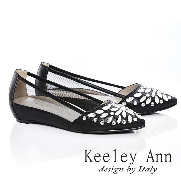 ★↘2折up★ Keeley Ann 經典風華~鑲鑽質感透膚內增尖頭鞋(黑色)