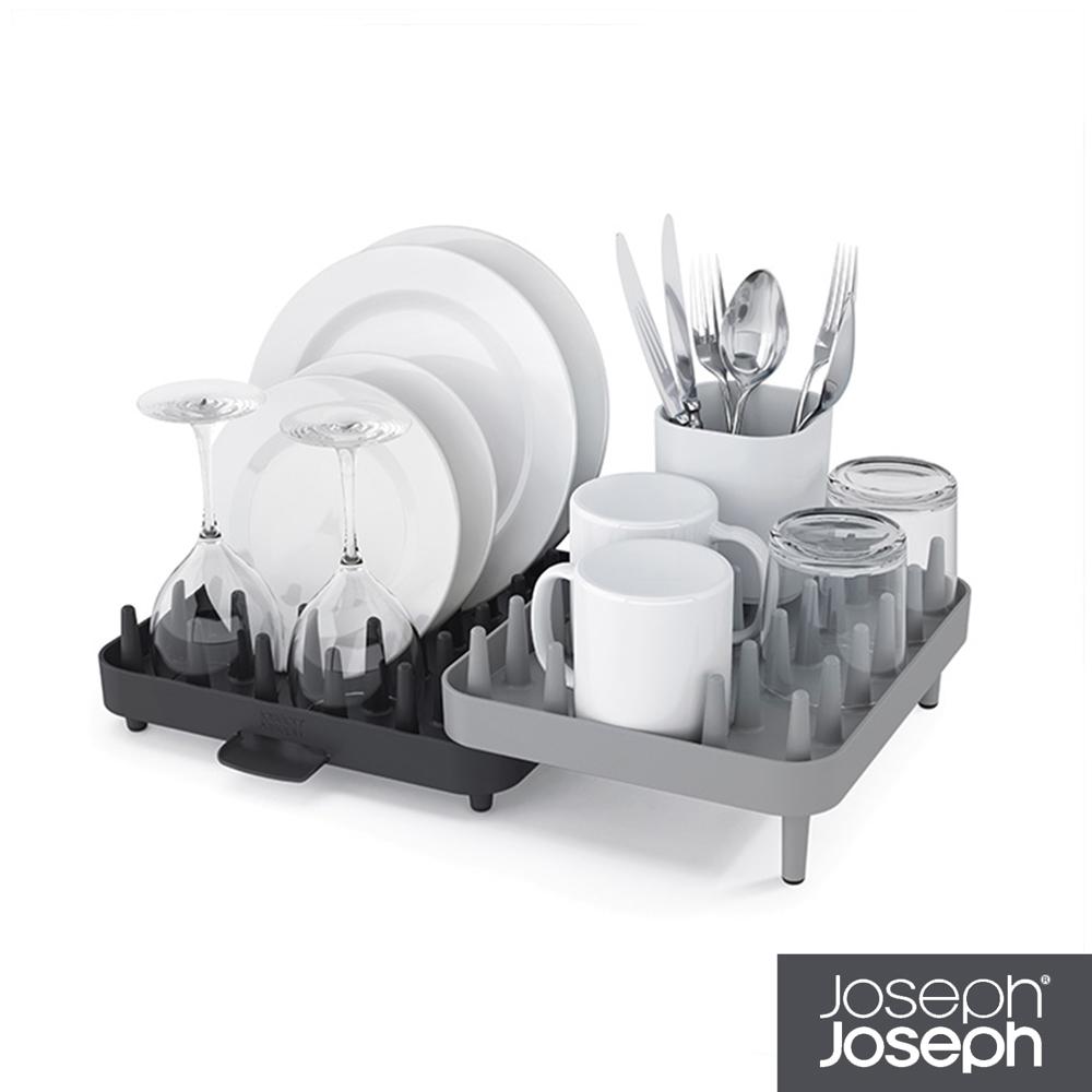 英國 Joseph Joseph 可調式碗盤瀝水架三件組-灰/綠兩色可選