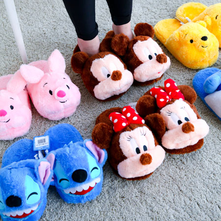 正版迪士尼立體絨毛拖鞋拖鞋保暖拖鞋絨毛拖鞋室內拖鞋綿拖米奇米妮史迪奇維尼小豬