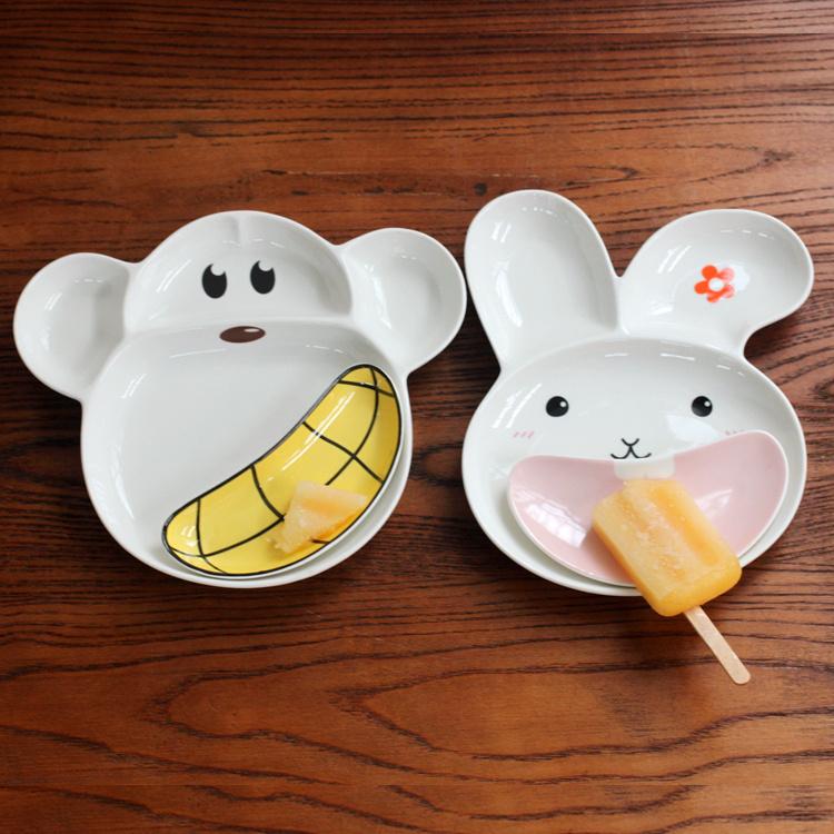 超豐國際猴子兔子陶瓷分格盤陶瓷餐盤家用烘培烤盤水果盤子1入