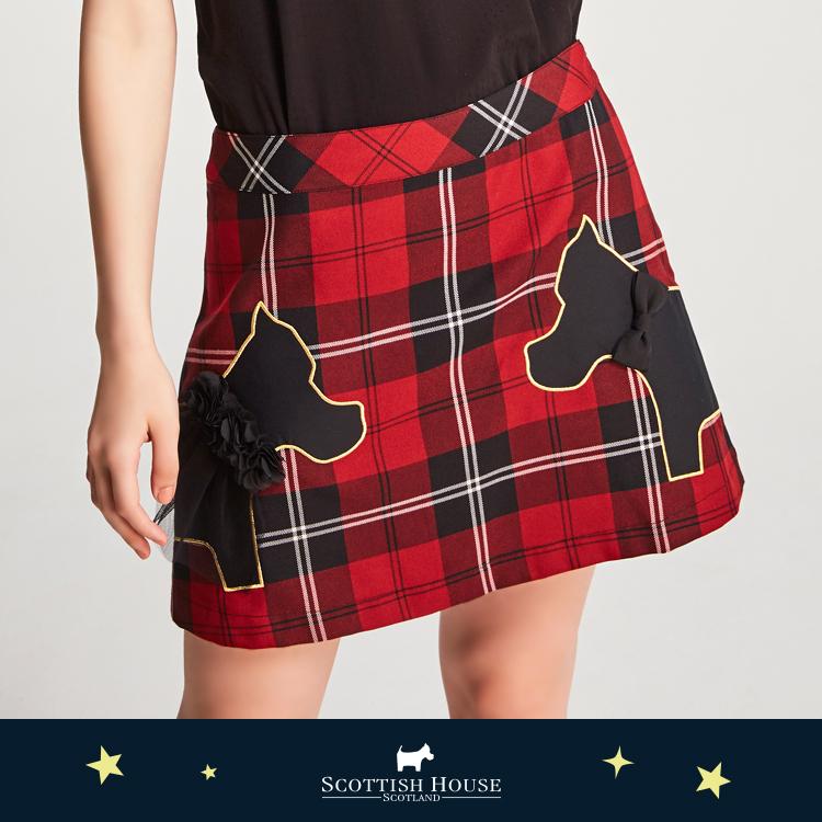 【紅黑格】甜蜜情侶對看狗短裙 Scottish House【AJ2101】