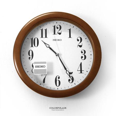 SEIKO精工掛鐘日系文清原木質感深咖色清晰大數字圓型時鐘質感生活柒彩年代NG8原廠公司貨