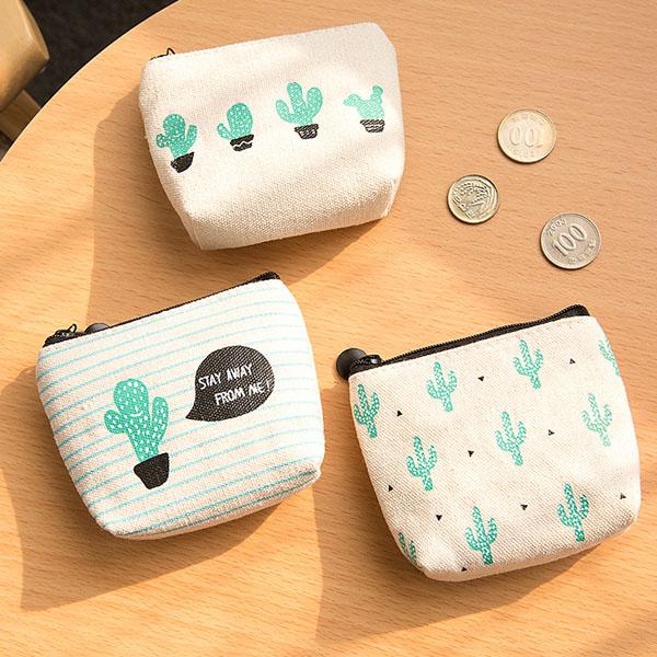 零錢包-日系可愛貓妃仙人掌盆栽隨身零錢包收納包手拿包【AN SHOP】