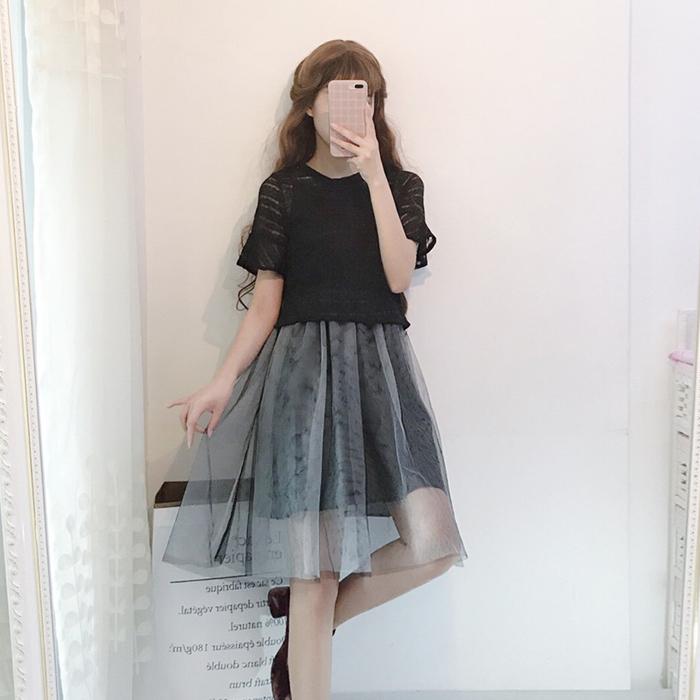 超豐國際夏季女裝小清新網紗仙女裙兩件套裙子吊帶連衣裙學生1入