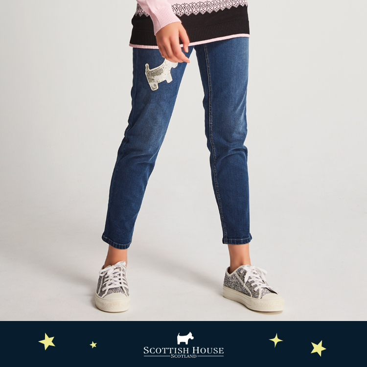 亮片貼布牛仔褲 Scottish House【AJ2302】