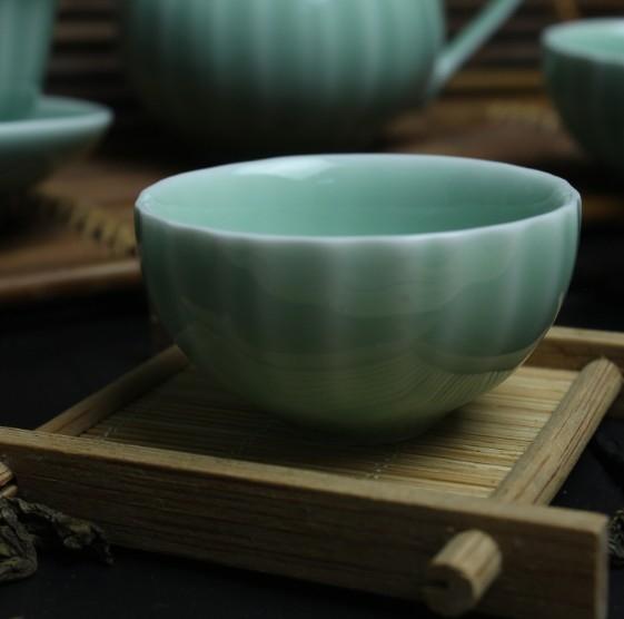 協貿國際青瓷弟窯蓮花梅子青茶杯哥窯汝窯蓋碗青瓷茶具茶漏茶壺