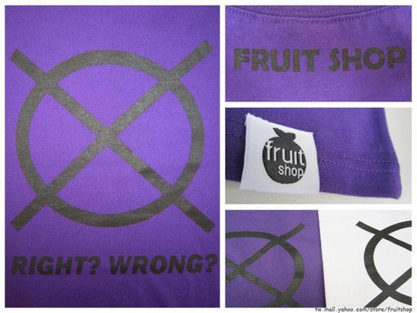 圈叉個性圓領上衣‧紫色‧棉T-【Fruit Shop】