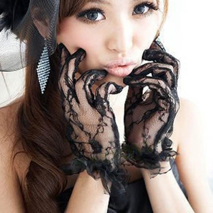 手套 性感風情透明蕾絲短手套-黑色(可搭配女傭-新娘-女警-貓女等套裝)-玩伴網
