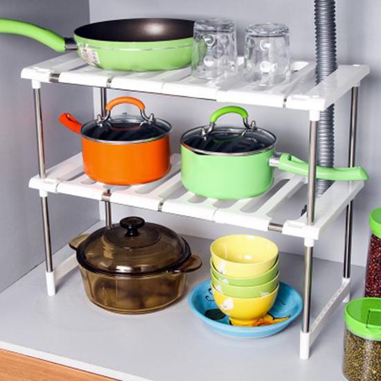 MY COLOR水槽下收縮置物架收納整理分類鍋具居家廚房儲物分層不鏽鋼伸縮廚具W09