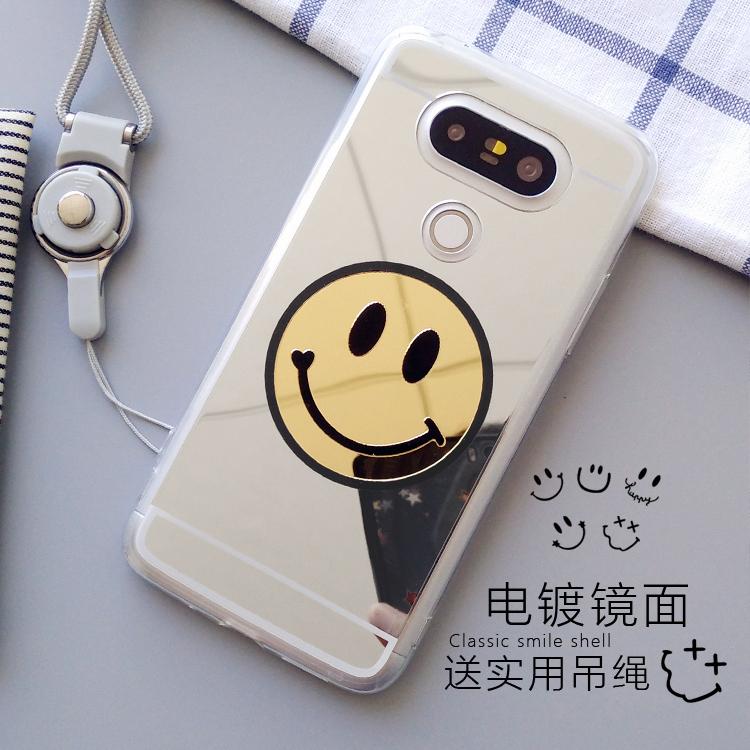LG V10 手機套 LG V20 手機殼 V10 保護套 V20 保護殼 鏡面 笑臉殼 矽膠套 附掛繩