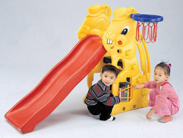 寶貝樂小白兔歡樂溜滑梯組~附籃框籃球