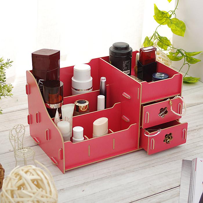 桌面化妝品收納盒DIY木製木頭木質首飾珠寶桌上抽屜收納盒SV5454快樂生活網
