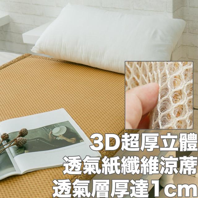 3D透氣紙纖維涼蓆[加厚型]單人(90*180cm)  透氣清涼  輕便好收納 台灣製