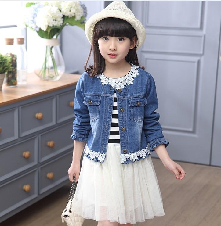 衣童趣韓版女童甜美橫條紋紗網洋裝牛仔外套兩件式組合百搭套裝現貨