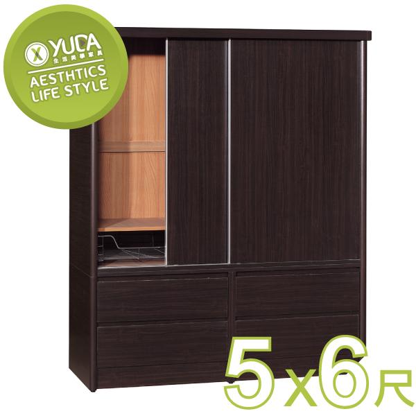 衣櫃YUDA美化5*6尺六分木心板拉門推門四大抽屜衣櫥衣櫃不含內鏡可加購