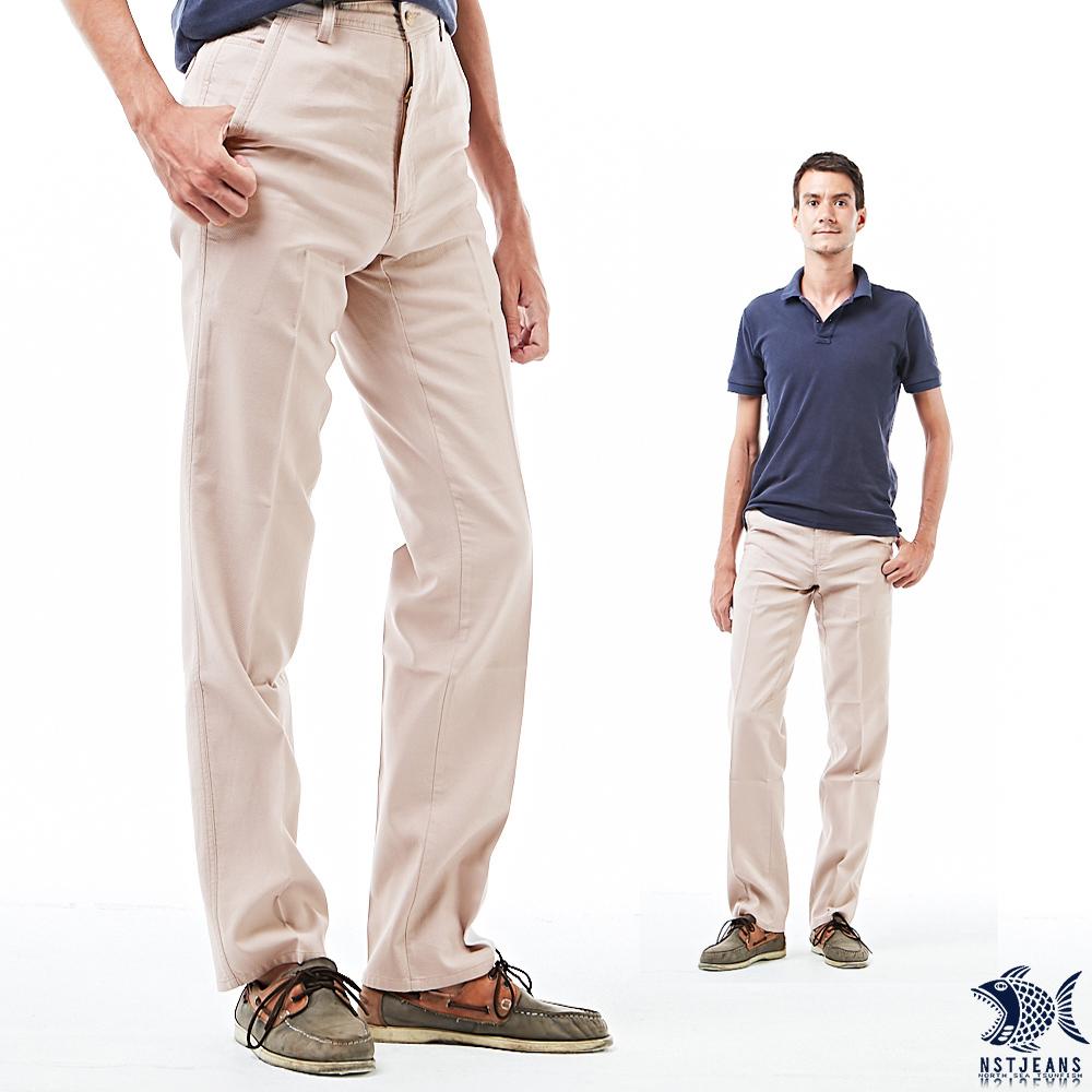 【NST Jeans】暖男杏色 小白球壓紋 上流感斜口袋休閒男褲(中腰) 390(5641) outlet款 台製 紳士