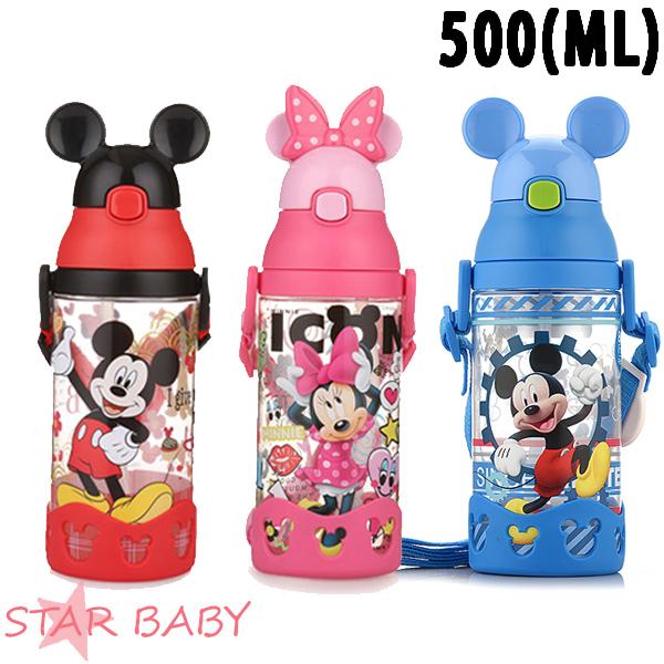 STAR BABY-正牌迪士尼米奇米妮吸管水壺水瓶兒童水壺背帶水壺500ML