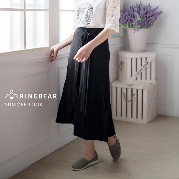 長裙--質感優雅大方甜美氣質腰臀修飾腰綁蝴蝶結花苞開岔長裙(黑XL-3L)-Q87眼圈熊中大尺碼