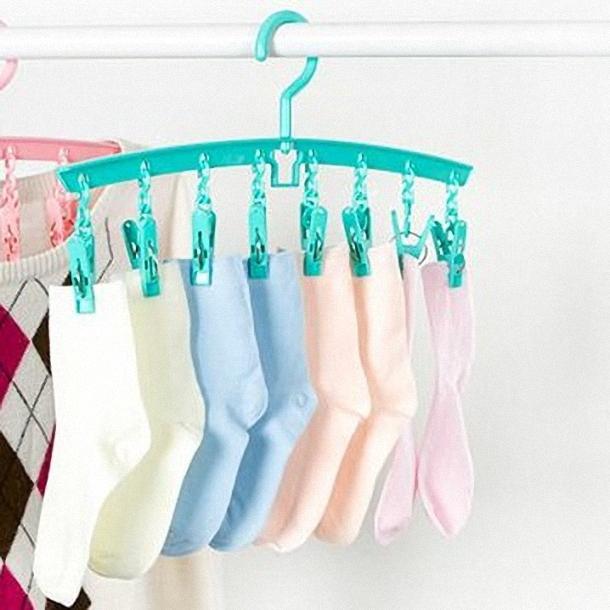 防風衣架8夾子多功能衣架塑膠衣服晾曬架襪子內衣晾衣架-綠色魔小物現貨1