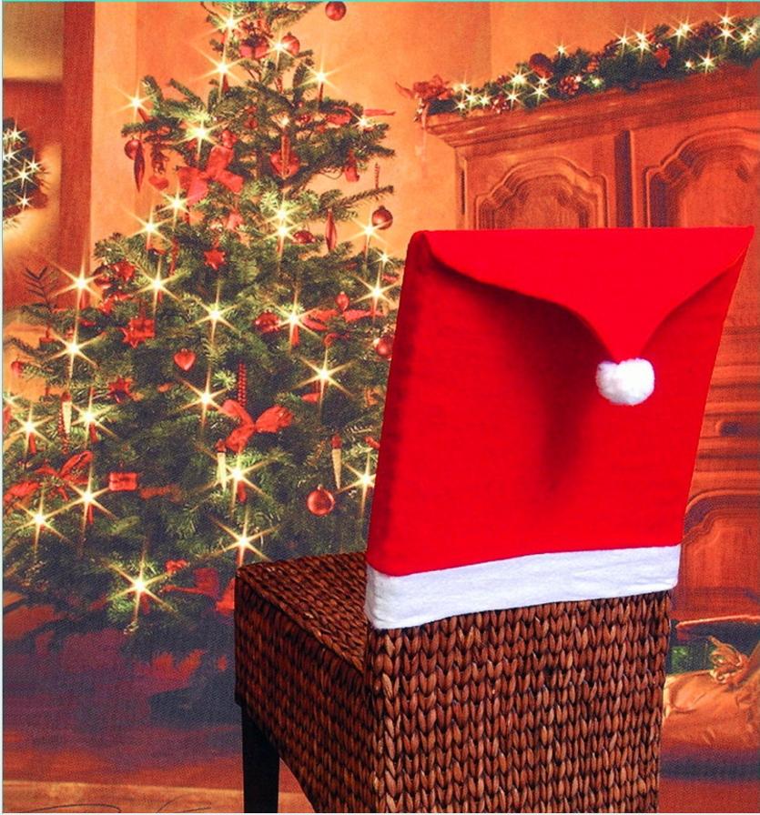 紅色無紡布聖誕椅子套 聖誕節餐桌裝飾聖誕帽 手感柔軟─預購CH2503
