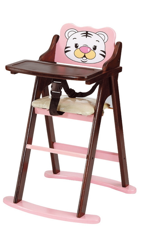 IS空間美學韓式巧虎折合寶寶椅粉色胡桃色