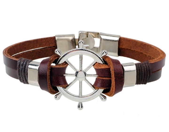 船舵 手鍊 頭層 牛皮繩 皮革 手鍊