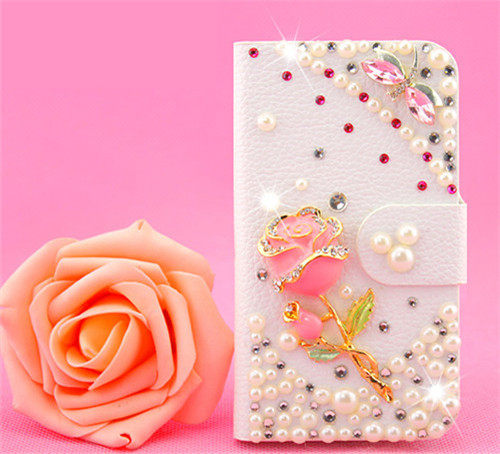 俏魔女美人館HTC ONE E8玫瑰蜻蜓皮套水鑽保護殼翻蓋套貼鑽手機套保護殼保護套
