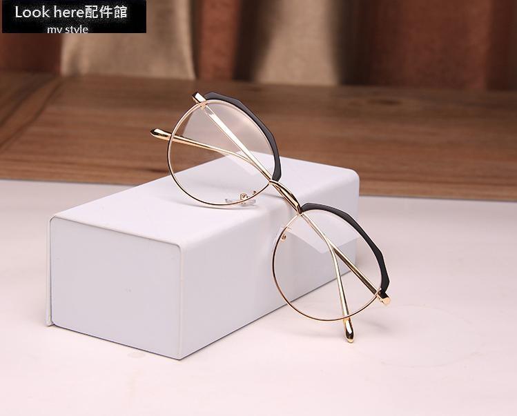 2017新款網紅同款復古鏡框眼鏡復古不規則半框平光眼鏡造型眼鏡配度數圓框方框Look here配件館