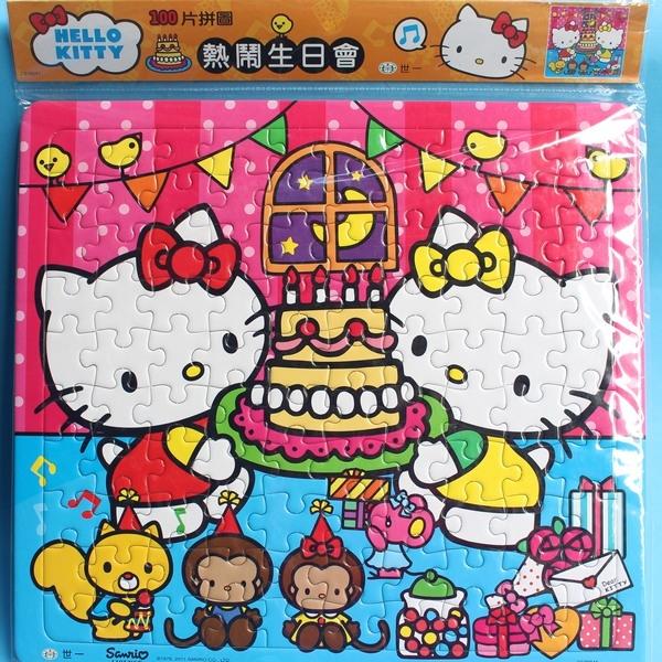 Hello Kitty凱蒂貓拼圖100片拼圖世一C678042 KT幼兒卡通拼圖大方形加厚MIT製一個入促120~正版授權