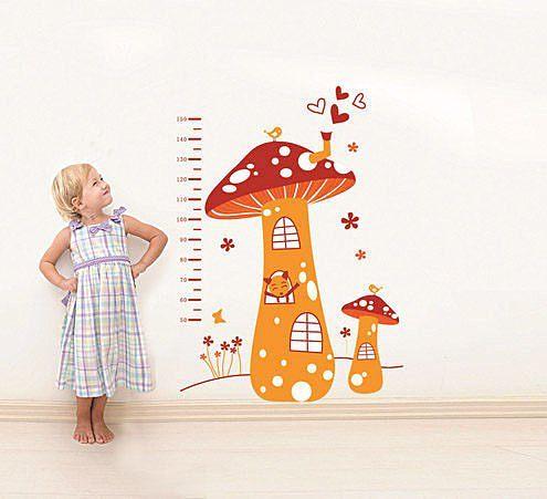 高品質DIY可移動牆貼身高尺壁貼兒童壁貼兒童房設計蘑菇屋YV2102 BO雜貨