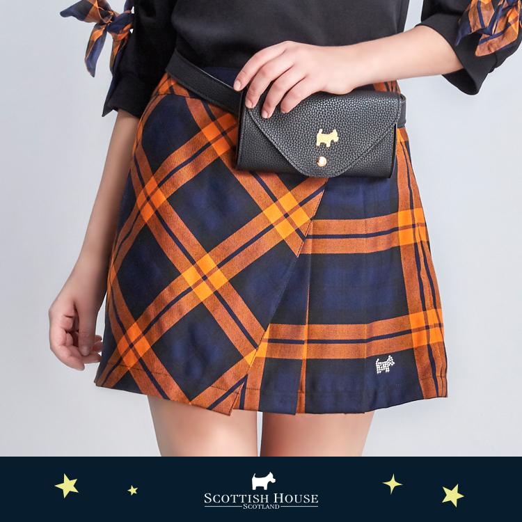 側邊百褶腰包小A裙 Scottish House【AJ2104】