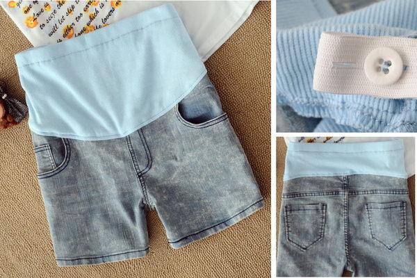 春夏孕婦款牛仔雪花托腹短褲熱褲牛仔淺藍