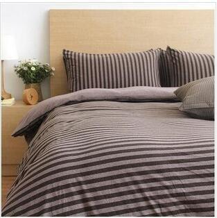 天竺棉四件套純棉簡約條紋床單被套針織棉全棉床笠床上用品深咖中條1.8