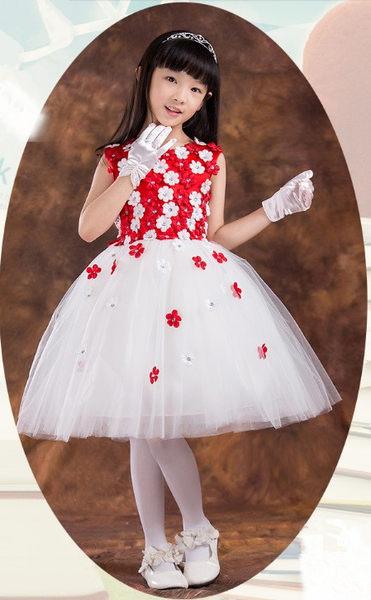 俏魔女美人館出租禮服女童白色禮服裙秋裝公主裙兒童婚紗禮服大童花童婚紗裙蓬蓬裙
