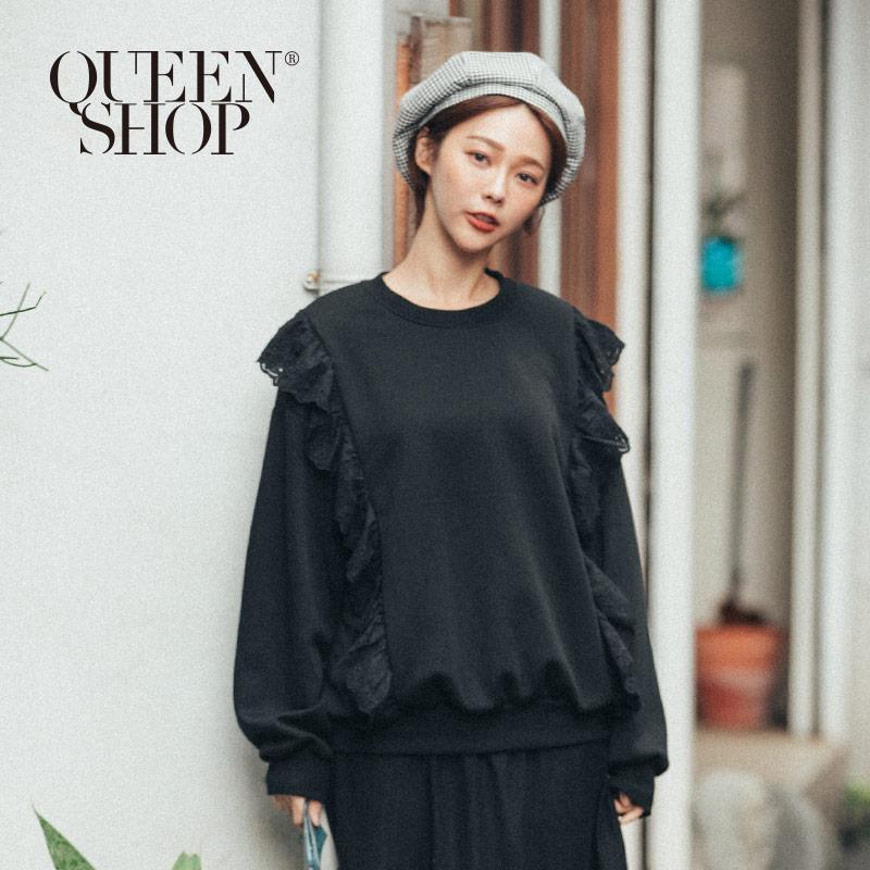 Queen Shop【01110473】素色立體蕾絲造型內刷毛大學T 兩色售*現+預*