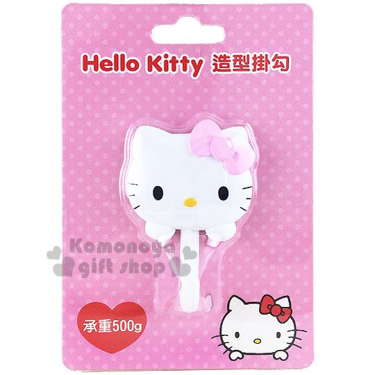 〔小禮堂〕Hello Kitty 貼式造型掛勾《粉蝴蝶結.大臉.泡殼》耐重500g 8021057-10001