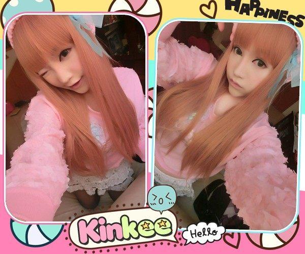 Kinkee假髮吉澤明步示範草莓優格粉白挑染耐熱長直髮K3020