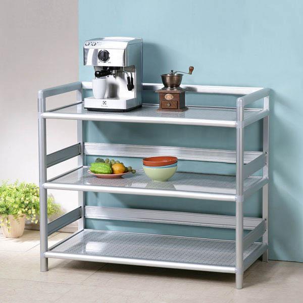 收納櫃《YoStyle》鋁合金3尺三層置物架(黑花格) 泡茶櫃 活動架  收納櫃 鋁架 小吃店 餐廳 碗盤櫃