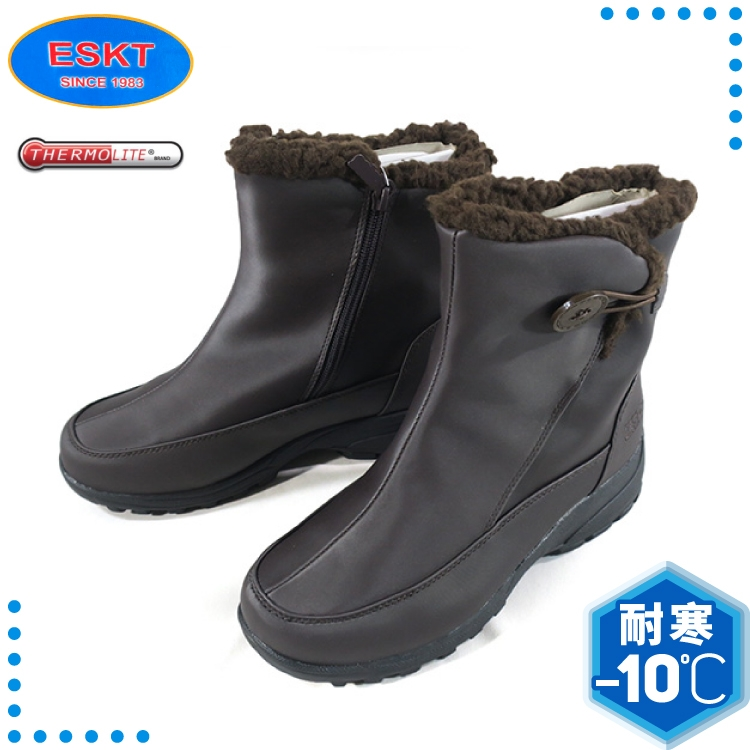 【ESKT 台灣 女 中筒雪鞋《咖啡》】SN233/中筒雪靴/雪靴/簡易冰爪/內刷毛/雪地行走