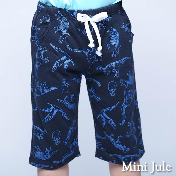 童裝 短褲 框線恐龍印花鬆緊短褲(藍)