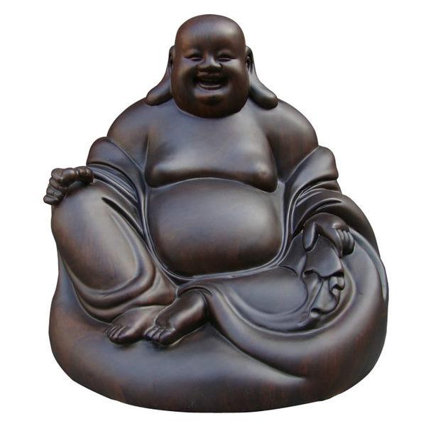 黑檀木坐笑佛彌勒佛像17cm